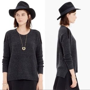 Madewell Textured Suede Stripe Pullover Sweater
